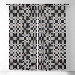 NEUTRAL black white grey symmetrical geometric pattern Blackout Curtain