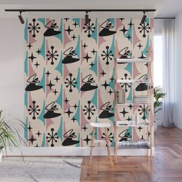 Mid Century Modern Cosmic Boomerang 726 Black Turquoise and Dusty Rose Wall Mural