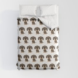 Wirehaired Dachshund | Cute Wire Haired Wiener Dog | Wild Boar and Tan Teckel Comforters