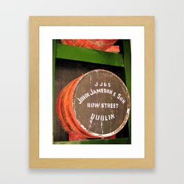 Jameson whiskey - Jameson Irish whiskey wooden barrel face photography Framed Art Print