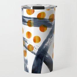 Yellow and Black Hand Painted Abstract Travel Mug