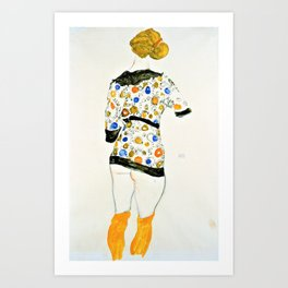 Egon Schiele - Standing Woman in a Patterned Blouse - Digital Remastered Edition Art Print
