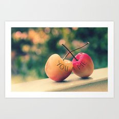 You & Me (Rainier Cherries with Green Bokeh Background) Art Print