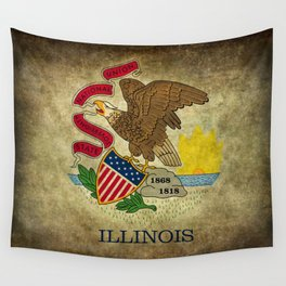 State flag of Illinois with grungy vintage textures Wall Tapestry