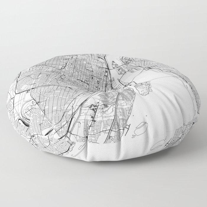 Montreal White Map Floor Pillow
