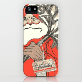 Christmas Pudding And Vintage Santa Vector iPhone Case