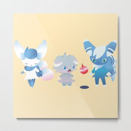 Espurr and Meowstic Family Metal Print