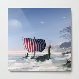 Wonderful longboat, vikking ship Metal Print