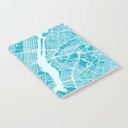 New York Map | Blue & Cyan | More Colors, Review My Collections Art Print Notebook