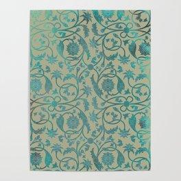 Blue Lotus Pattern Poster