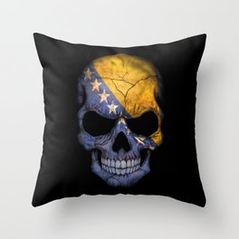 Dark Skull with Flag of Bosnia and Herzegovina Throw Pillow