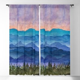 Blue Ridge Mountains Sunrise Original Watercolor Painting Blackout Curtain