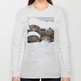 Snow Covered Wood Pile Long Sleeve T-shirt