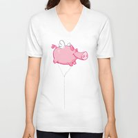 woodstock V-neck T-shirts featuring Flying Pig Animal by Nxolab
