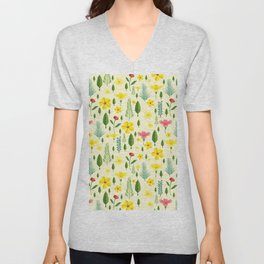 Tropical sunshine yellow pink green floral pattern Unisex V-Neck