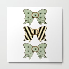Vintage Blue Bow  Metal Print