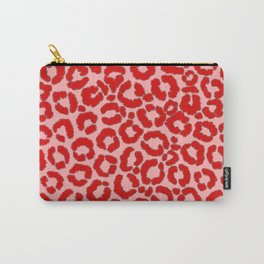 Bold Modern Red Pink Leopard Animal Print Carry-All Pouch