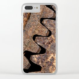 Old and rusty cogwheels Clear iPhone Case