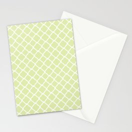 Modern pastel green white moroccan quatrefoil pattern Stationery Cards