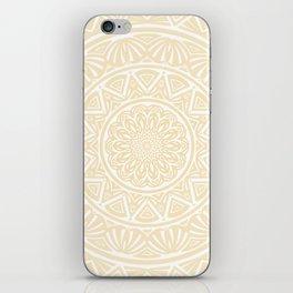 Pale Yellow Simple Simplistic Mandala Design Ethnic Tribal Pattern iPhone Skin