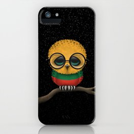 Baby Owl with Glasses and Lithuanian Flag iPhone Case
