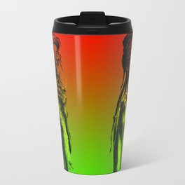Old rastafarian man smoking against red, yellow, green background Travel Mug