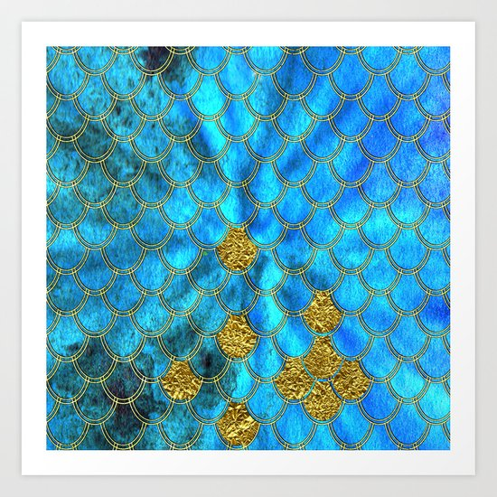 Blue aqua turquoise and gold glitter mermaid scales - Beautiful mermaidscales pattern on #Society6 Art Print