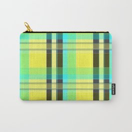 Yellow Aqua Brown and Green Plaid Carry-All Pouch