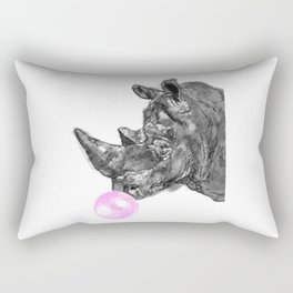 Bubble Gum Rhinoceros Black and White Rectangular Pillow