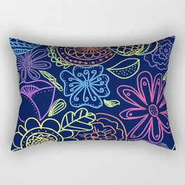 Bright Flowers on Navy Rectangular Pillow
