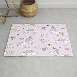 Unicorn & Rainbows Light Pink Rug