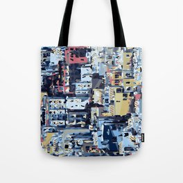 red yellow blue pink drawing and painting abstract background Tote Bag