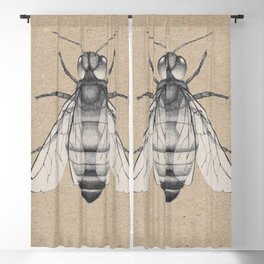 Bee pencil drawing Blackout Curtain