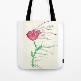 Rose with Emma Goldman quote Tote Bag
