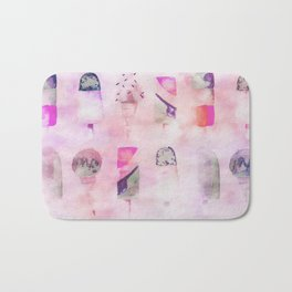 Ice Cream popsicles pastel tone watercolor art Bath Mat