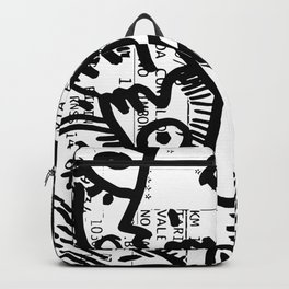 Creatures Graffiti Black and White on French Train Ticket Backpack