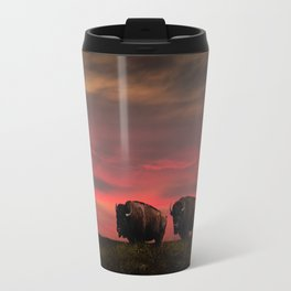 Two American Buffalo Bison at Sunset Travel Mug