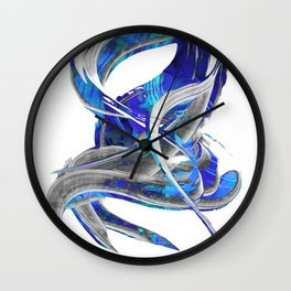 Blue White And Gray Art - Flowing 3 - Sharon Cummings Wall Clock