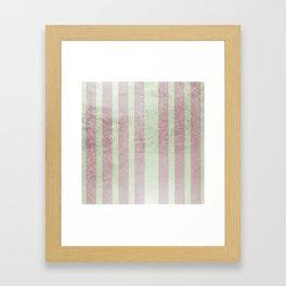 Pastel vintage green faux rose gold elegant stripes Framed Art Print