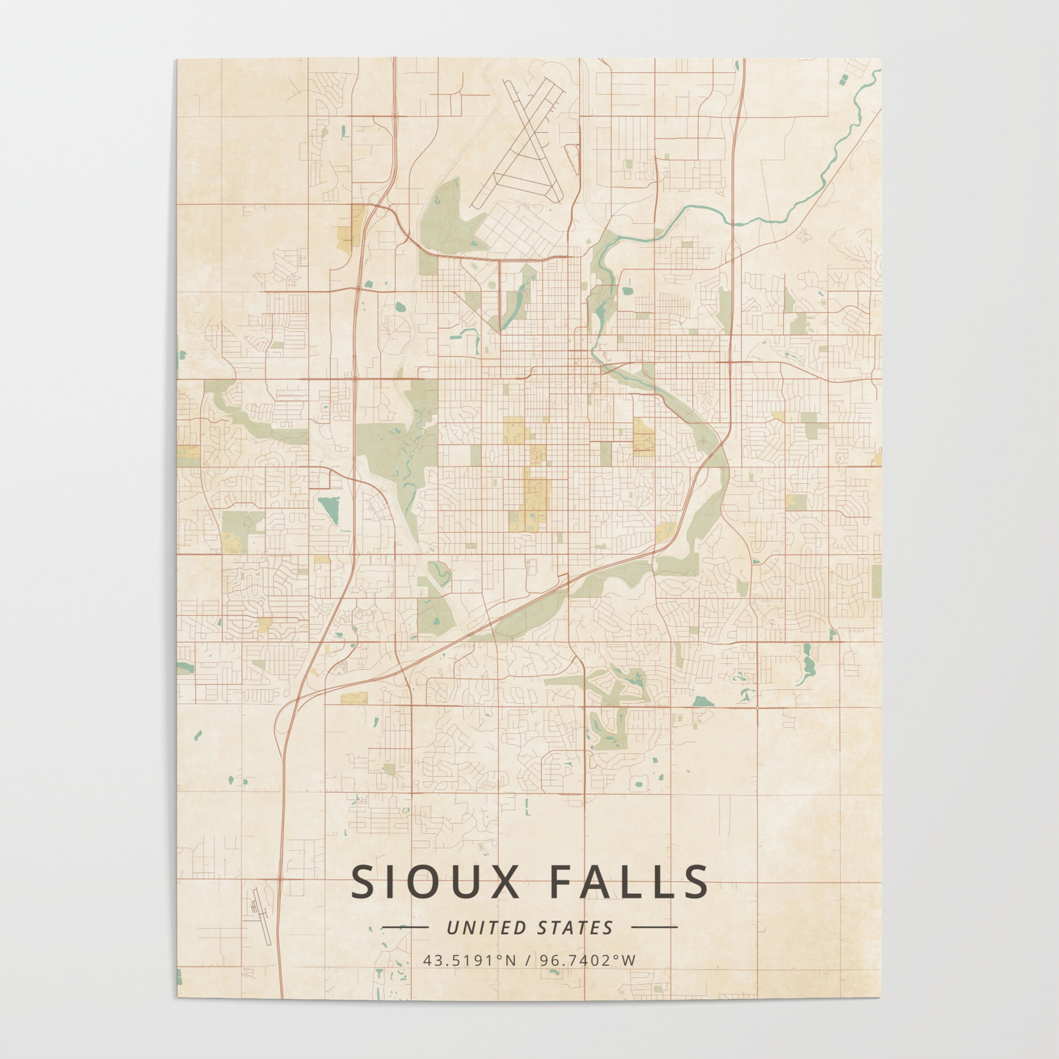 Sioux Falls, United States - Vintage Map Poster by designermapart