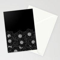 Daisy Boarder Black Stationery Cards