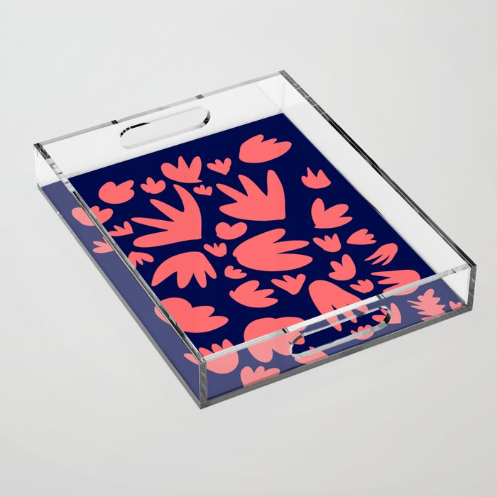 Living Coral Color of the Year Pattern Abstract Art Decorative Acrylic Tray