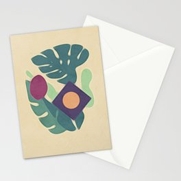 Monstera Leaves Diamond Abstract Maroon Dot Stationery Cards
