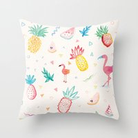 pinapple Throw Pillows featuring Trop-i-COOL by Laura Francis