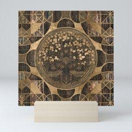 Tree of life -Yggdrasil - Wood Bark and Gold Mini Art Print