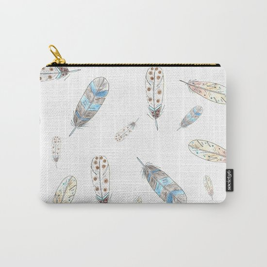Watercolor feathers print Carry-All Pouch