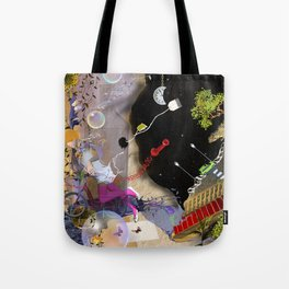 beautiful woman floating among abstract objects, raster illustration Tote Bag