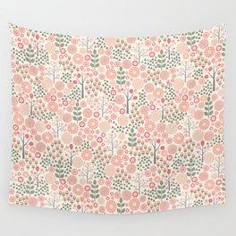 Scandi Dense Floral Pattern Wall Tapestry