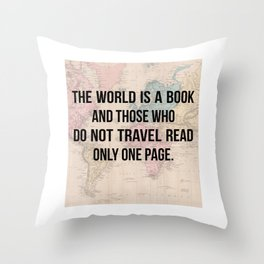 Travel Quote Map Design Throw Pillow