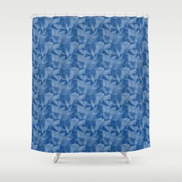 Pantone Turkish Blue 19-4053 Abstract Geometrical Triangle Patterns 2 Shower Curtain